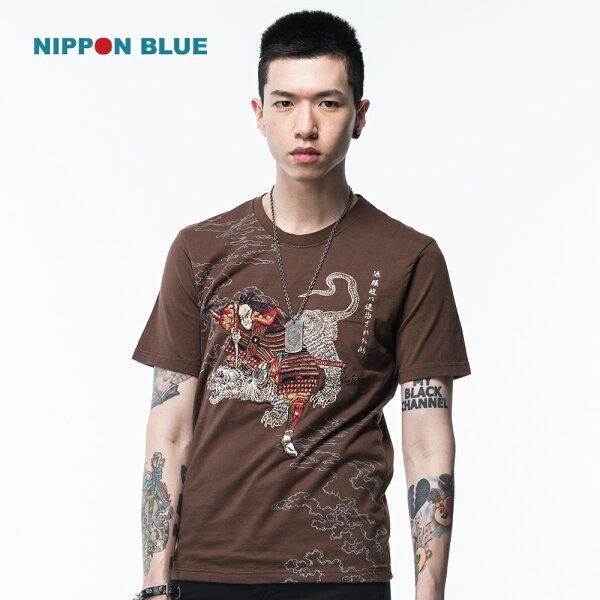 金標源賴政退治鶴短袖T恤(咖啡)-BLUEWAYNIPPONBLUE日本藍
