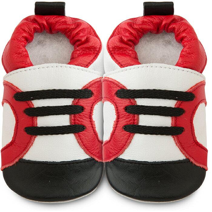 【hella 媽咪寶貝】英國 shooshoos 健康無毒真皮手工學步鞋/嬰兒鞋 紅白運動型(SS102951 )(公司貨)