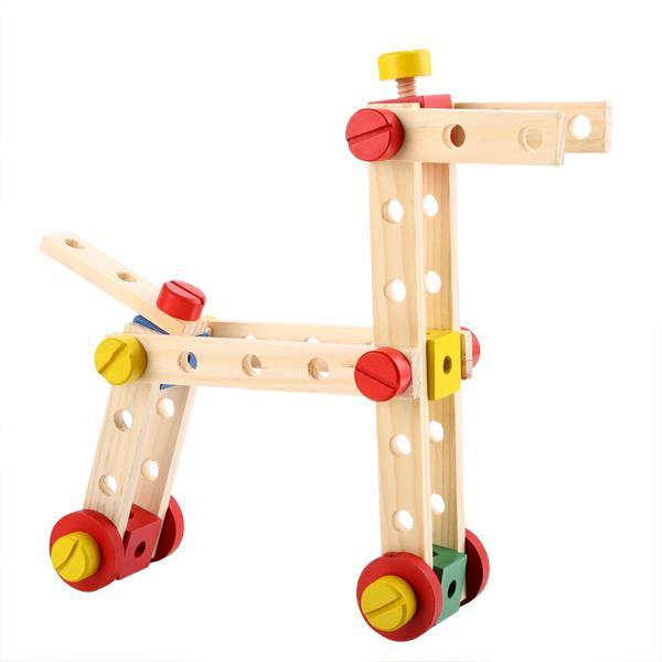 Baby 78 PCS Multi Functional Wooden Nuts and Bolts Combination Toys Building Construction Set 1