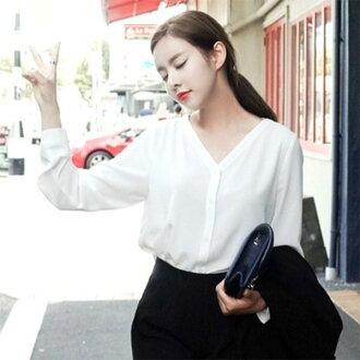 PS Mall韓版V領顯瘦長袖襯衫 上衣【T530】