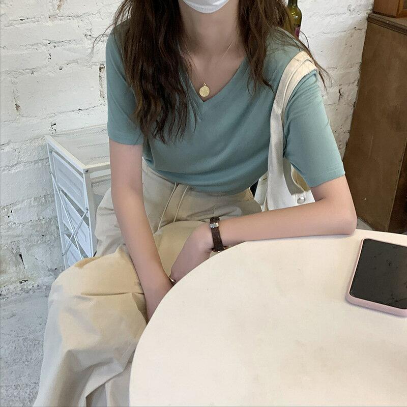 V領純色短袖T恤女2021夏季韓版寬鬆簡約基礎款內搭上衣