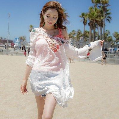 罩衫針織鏤空V領皺褶連身裙沙灘比基尼罩衫【ZS387】BOBI0426