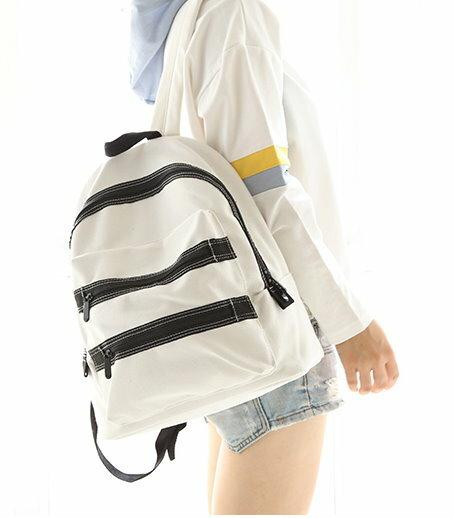 日韓新款 簡約素面帆布 後背包 雙肩包 學生書包 男女旅行包-車縫線款