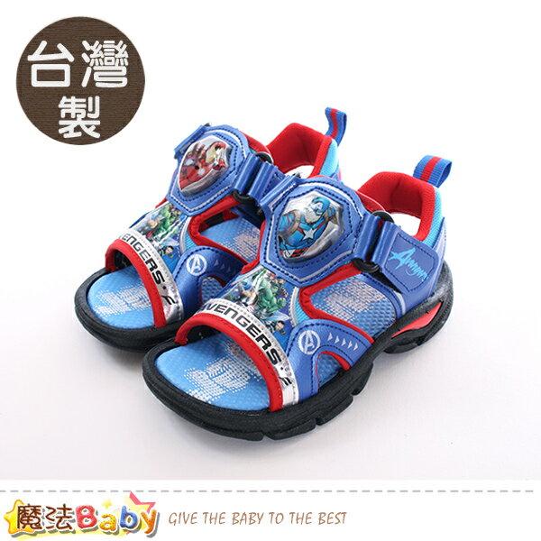 兒童涼鞋台灣製復仇者聯盟正版閃燈運動涼鞋魔法Baby~sa89136