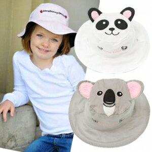 小烏龜精品童裝店:UPF50+高防曬指數‧保護細緻肌膚Flapjackkids雙面遮陽帽-熊貓無尾熊