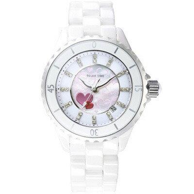 大高雄鐘錶城:RELAXTIME優雅陶瓷腕錶-愛心(RT-09-2)34.2mm