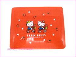 asdfkitty可愛家☆二手商品出清(有刮痕)-KITTY雙胞胎騎腳踏車紅色收納盒-2004年出品-日本正版商品