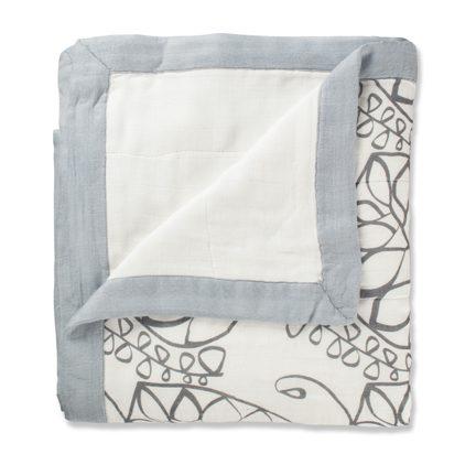 【淘氣寶寶】美國 Aden + Anais 竹纖維四層細紗布輕柔毯(1入裝) (黑色)★英國喬治小王子御用包巾品牌