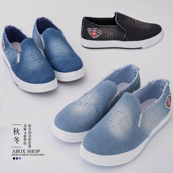 格子舖*【AR8825】經典基本款硬挺破壞刷破牛仔布 簡約素面時尚帆布鞋 懶人鞋 3色 0