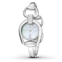 Gucci 古吉 YA139504 雙排真鑽經典馬銜手環時尚腕錶/白貝面28mm