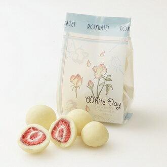 【白色情人節限量版包裝】「日本直送美食」[六花亭] 草莓巧克力 (白巧克力/袋裝85g) ~ 北海道土產探險隊~