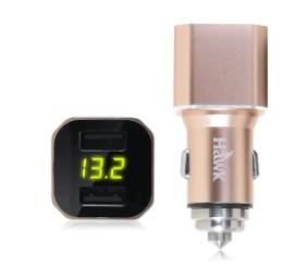 【迪特軍3C】Hawk雙USB電壓顯示車用充電器車充AVT312車窗擊破器電壓顯示