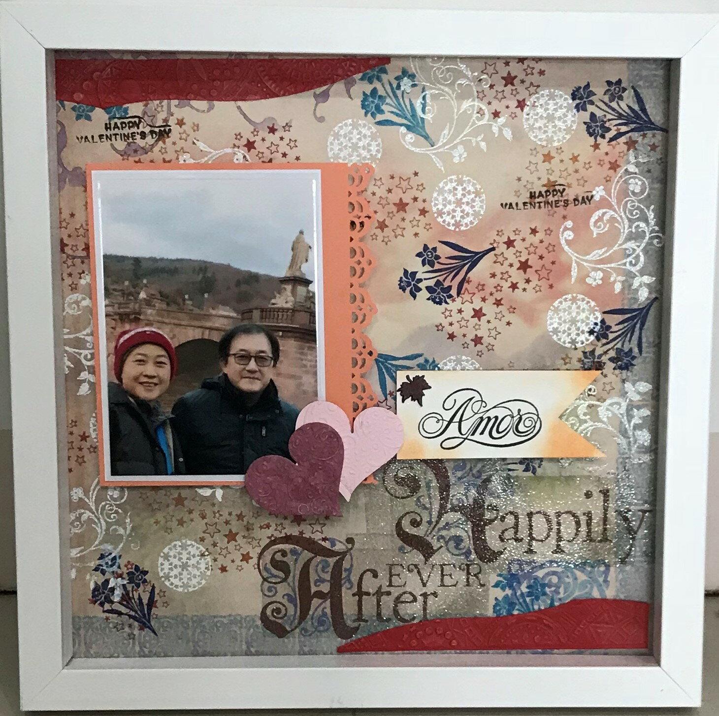 【夫妻愛之旅】 客製化相片美編、相框美編、文創手作、紙藝、掛、立放皆可36*36cm,正方白框有壓克力版