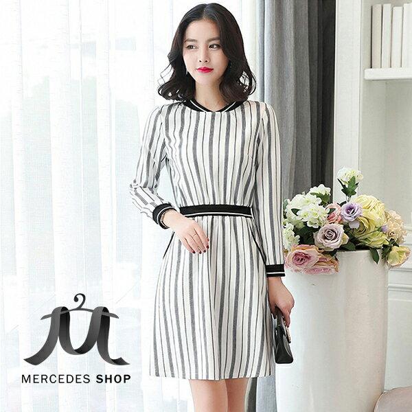 梅西蒂絲Mercedes Shop:《全店75折》秋裝收腰連身裙長袖洋裝(S-XL)-梅西蒂絲(現貨+預購)