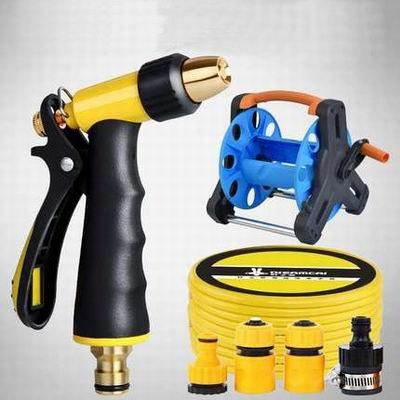 【金屬水槍10米套裝/水槍套裝15米-1款/組】洗車/家用水管車(帶收納架、2米水管、2個接頭)-527001