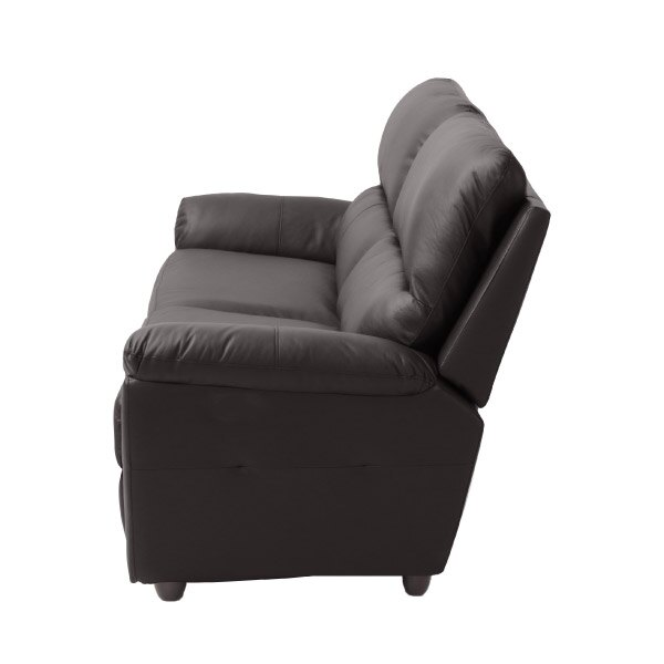 ◎(OUTLET)半皮3人用沙發 N-BEAZEL DBR 福利品 NITORI宜得利家居 2