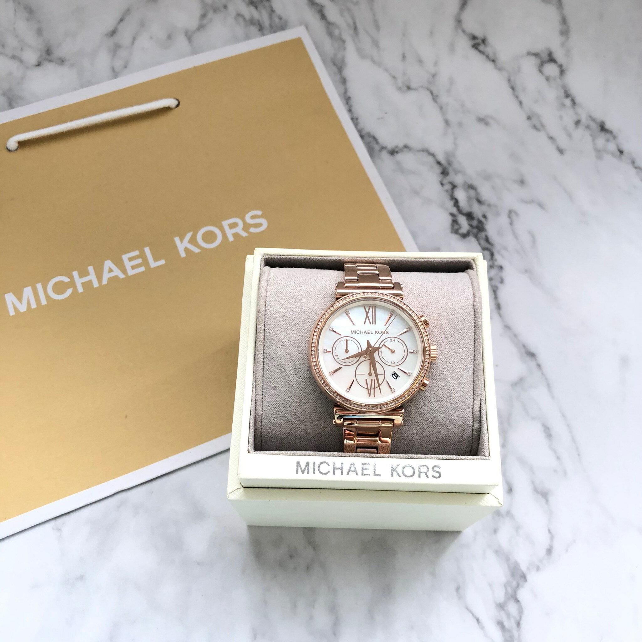 美國百分百【全新真品】 Michael Kors 手錶 MK 腕錶 禮盒 專櫃精品 MK6614 玫瑰金 女款 AQ17