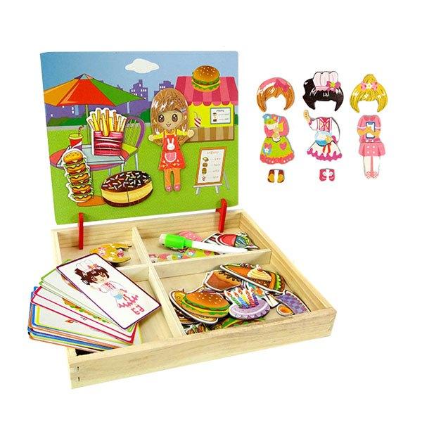 【888便利購】MWZ木製盒裝歡樂派對換裝磁貼遊戲組(背面小白板功能)(6027)