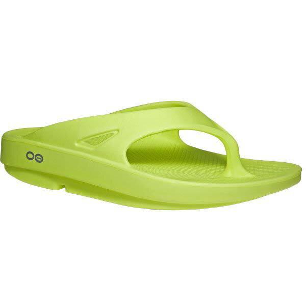 《台南悠活運動家》OOFOSM1000男款超輕人體工學舒壓健康拖鞋按摩型氣墊鞋懶人拖螢光綠