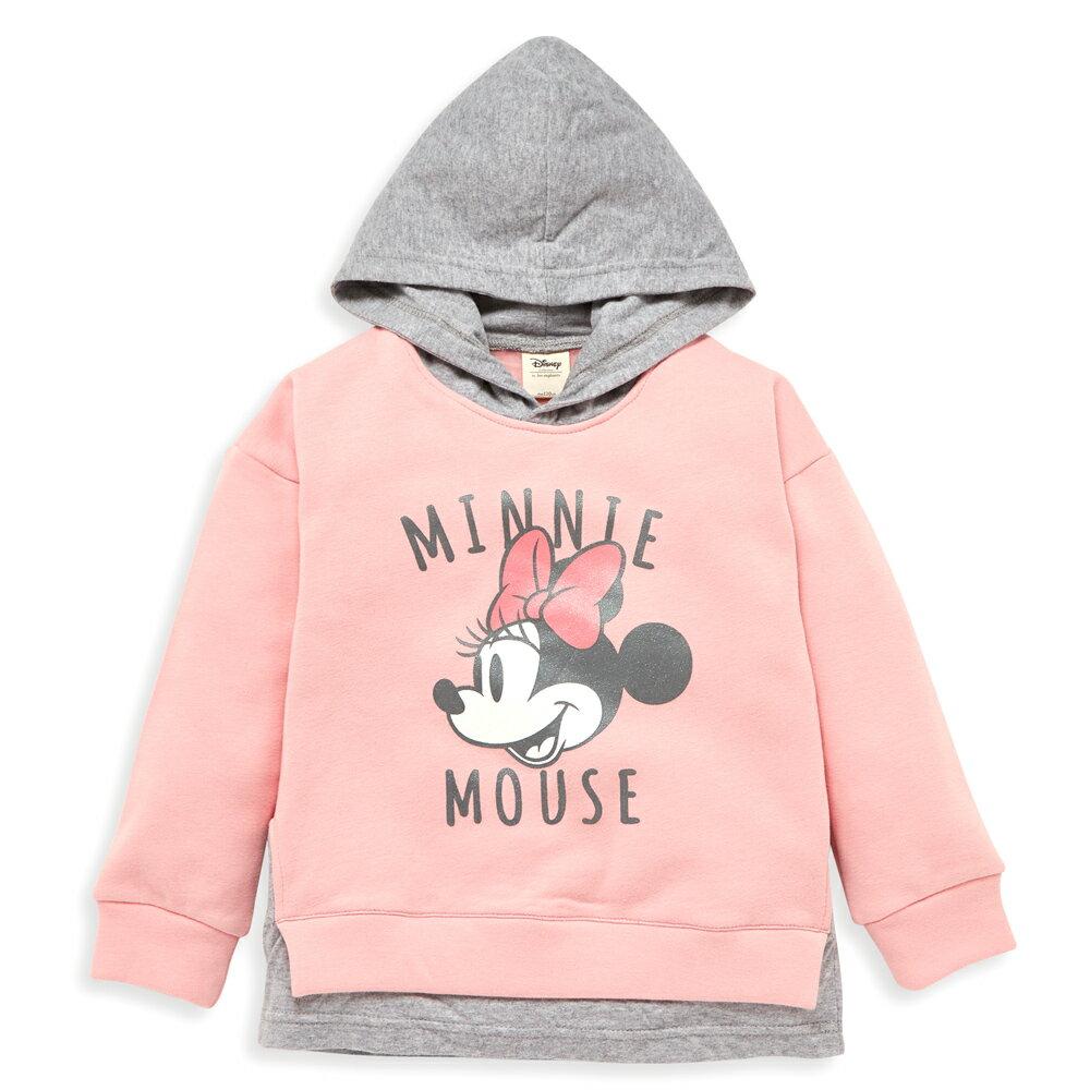 Disney 米妮系列米妮假二件式刷毛連帽上衣-粉紅 - 限時優惠好康折扣