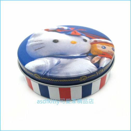 asdfkitty可愛家☆KITTY海軍風圓型小鐵盒收納盒置物盒-日本正版商品