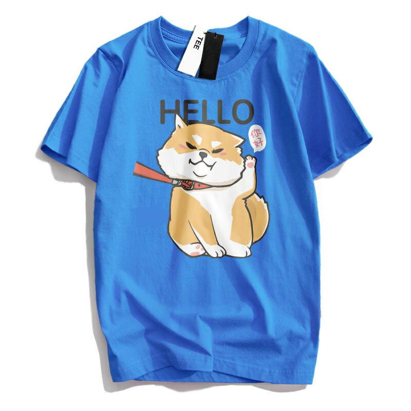 KUSO 搞笑 情侶裝 純棉短T MIT台灣製【YC686-17】萌寵 HELLO 你好 柴犬  動物萌寵 快速出貨 6
