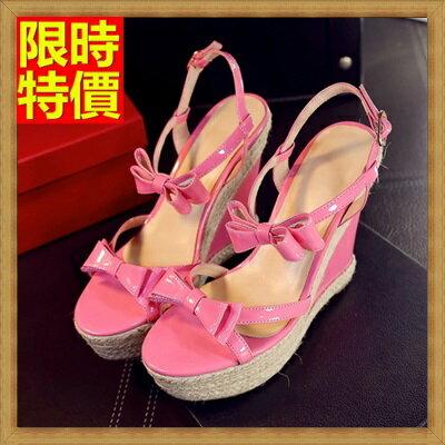 楔型涼鞋厚底涼鞋-甜美可愛性感蝴蝶結真皮女坡跟涼鞋2色69w48【獨家進口】【米蘭精品】