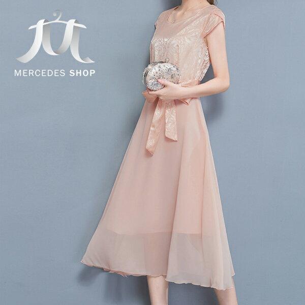 《全店8折+399免運》  優雅真絲修身大擺短袖洋裝禮服(M-3XL,4色) - 梅西蒂絲(現貨+預購)