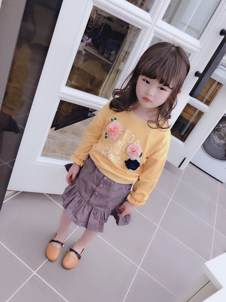 2019兒童潮花朵釘珠字母衛衣+荷葉邊短裙兩件套 女童寶寶裙裝1入