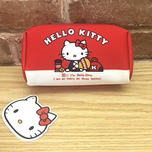 【真愛日本】17041700021 防水布化妝包-KT球拍紅 三麗鷗 Hello Kitty 凱蒂貓 收納 化妝包