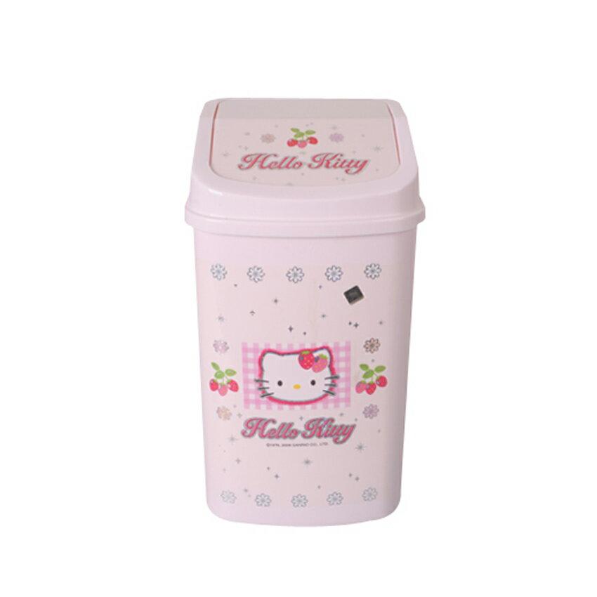 【真愛日本】8082700033晶亮方翻蓋垃圾桶L-草莓 KITTY 凱蒂貓 三麗鷗 垃圾桶 置物桶 收納