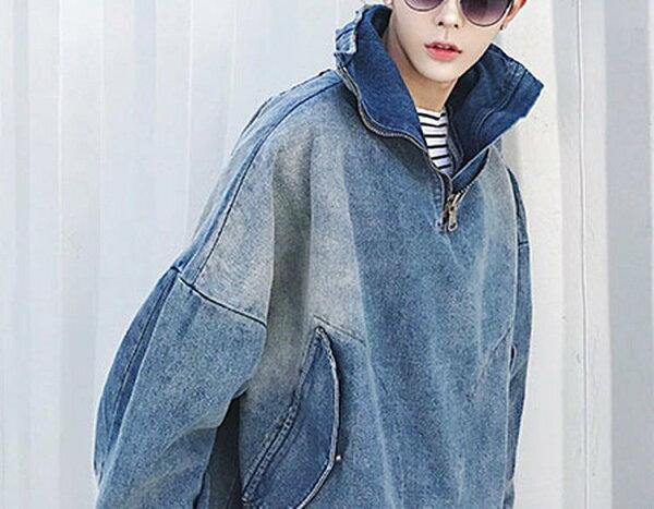 FINDSENSEG6韓國時尚拉鍊高領超寬鬆短款街頭夾克牛仔上衣男外套