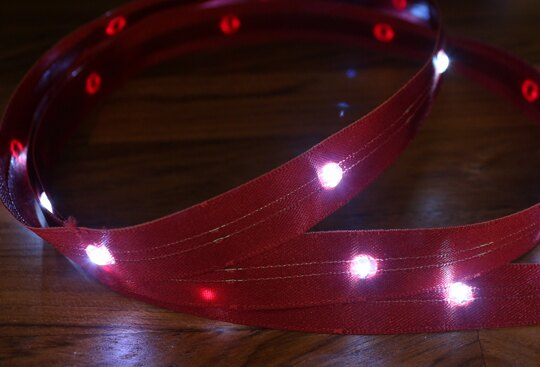 LiTex LED寬版緞帶15mm-白燈系列-中間燈(12色緞帶可選擇) 0