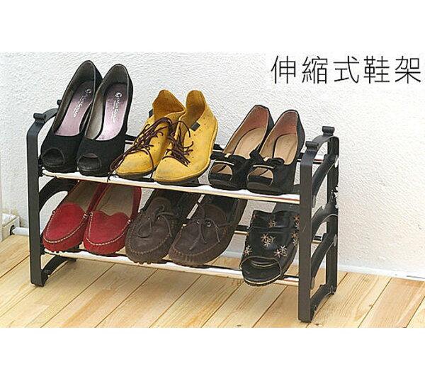 BO雜貨【SV6505】伸縮可調式鞋架可伸縮雙層鞋架鞋櫃鞋子收納架置物架玄關外宿