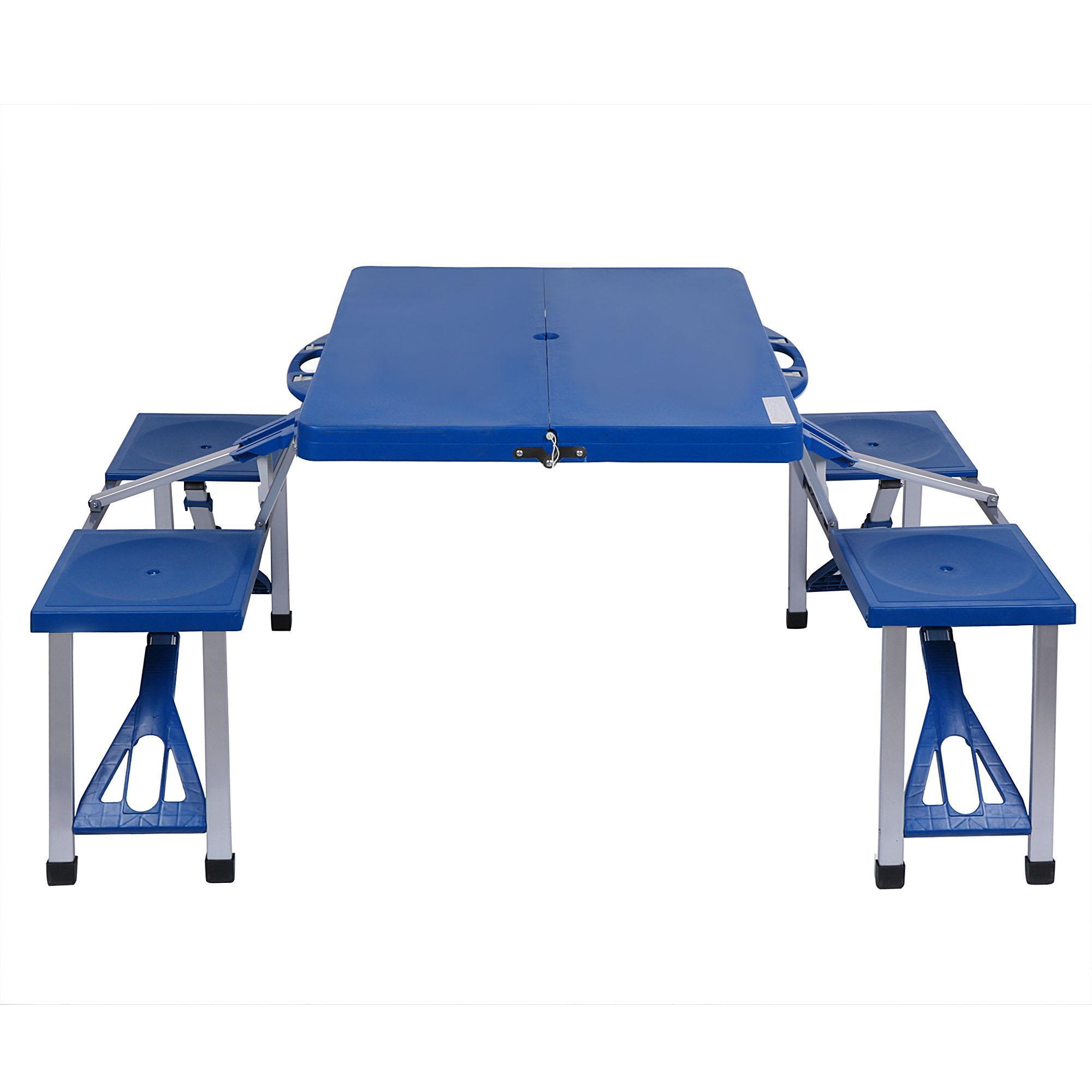 Portable Folding Outdoor Camp Suitcase Picnic Table with 4 Seats 0