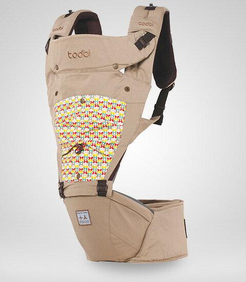 【限量贈市價$1200護頸枕】【安琪兒】韓國【Todbi】新一代有機棉氣囊坐墊式背巾(淺褐) 1