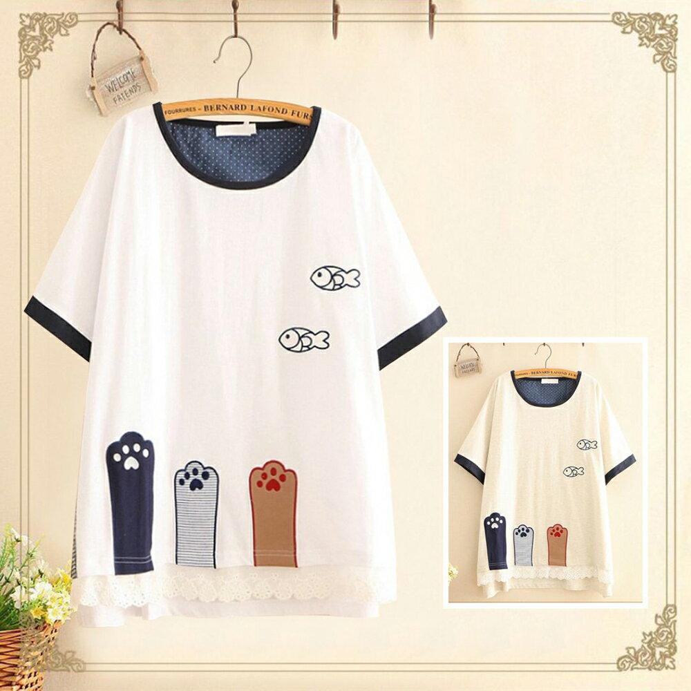 森女小清新三隻貓腳刺刺繡短袖T恤(2色F碼)【OREAD】 1