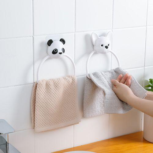 【超取399免運】可愛卡通吸壁式毛巾掛環 免打孔浴室掛鉤 廁所廚房抹布毛巾架