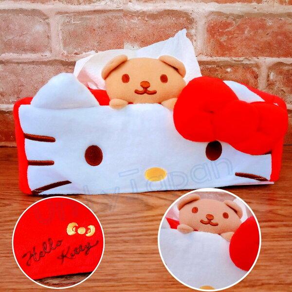 【真愛日本】18081100002絨毛造型面紙盒套-KT大臉紅結凱蒂貓kitty面紙套造型車用百貨居家裝飾