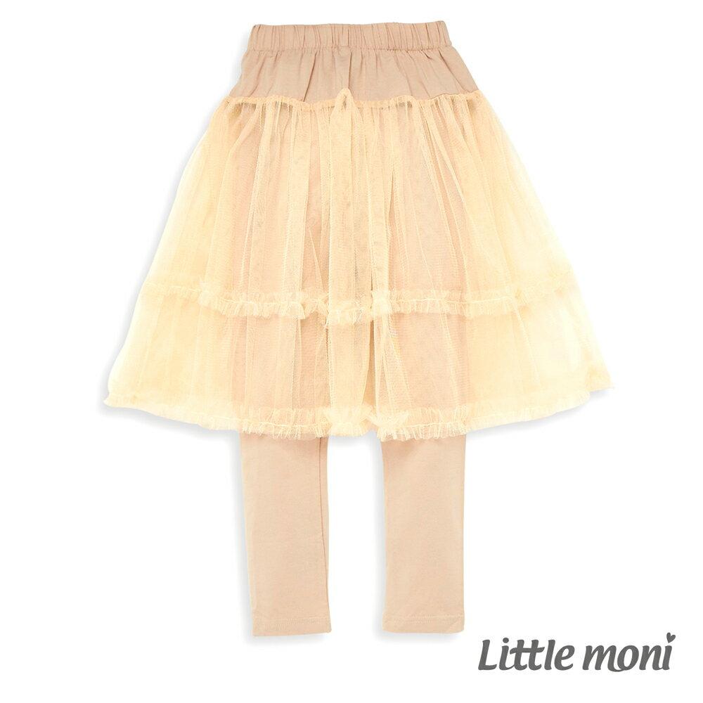 Little moni 假兩件網紗蓬裙-象牙白 0