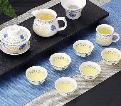 玲瓏鏤空陶瓷功夫茶具套裝家用泡茶杯茶壺景德鎮簡約蓋碗客廳 【4-4超級品牌日】
