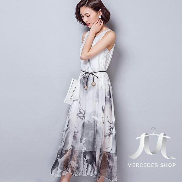 梅西蒂絲Mercedes Shop:《現貨出清5折》復古花色涼感無袖洋裝-M-2XL-梅西蒂絲(現貨+預購)