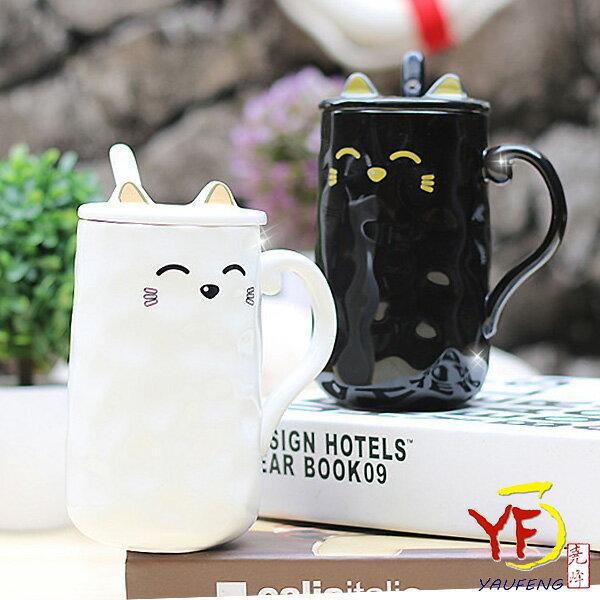 ★餐桌系列★馬克杯系列浮雕黑白貓蓋杯單入(附造型上蓋湯匙)