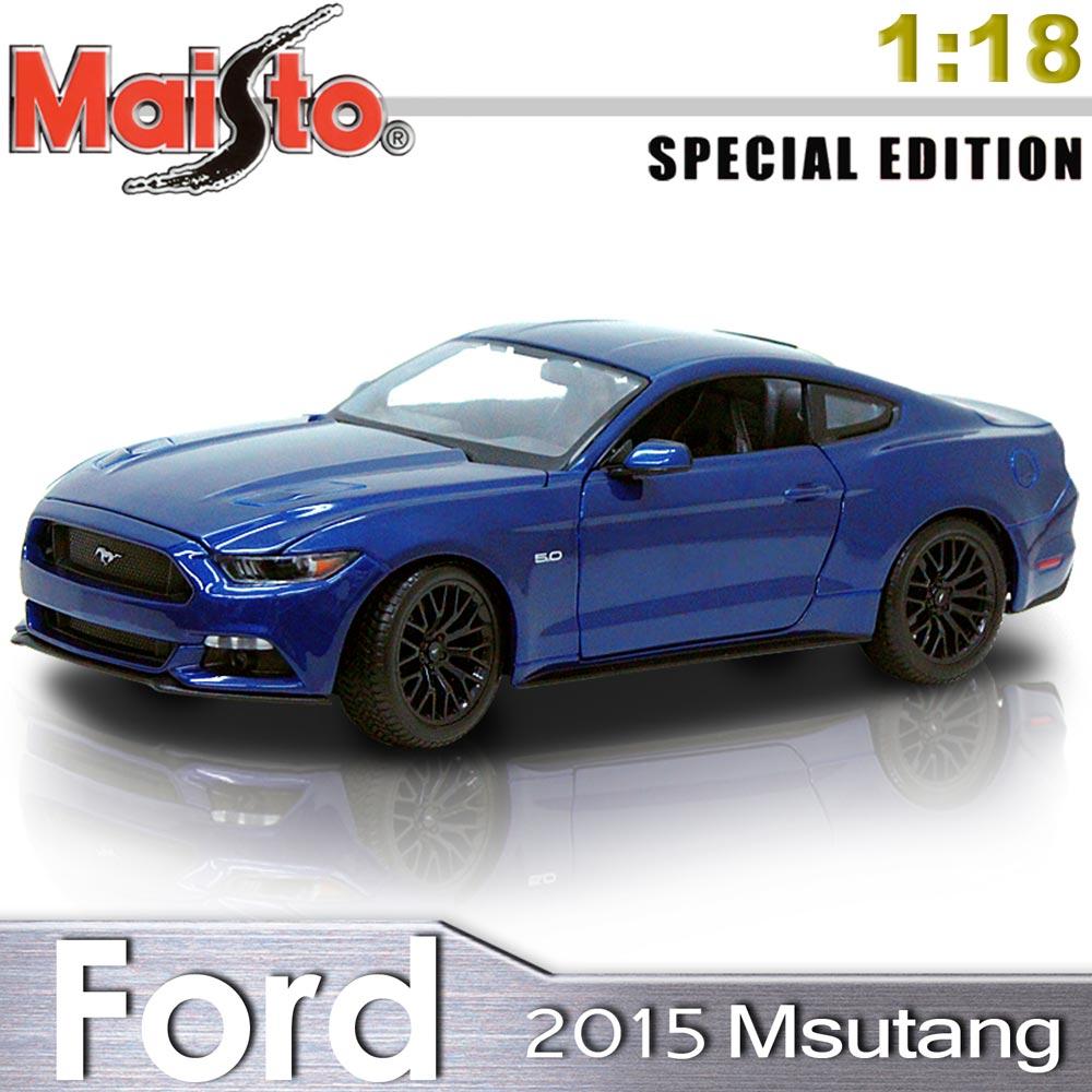 【Maisto】2015 Ford Mustang《1/18》合金模型車 -寶藍