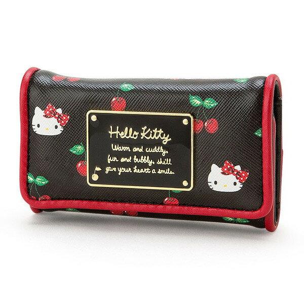 【真愛日本】16090100016   PU皮革扣式鑰匙鎖包-KT櫻桃黑 KITTY 凱蒂貓 三麗鷗 長夾 鑰匙包 鎖包