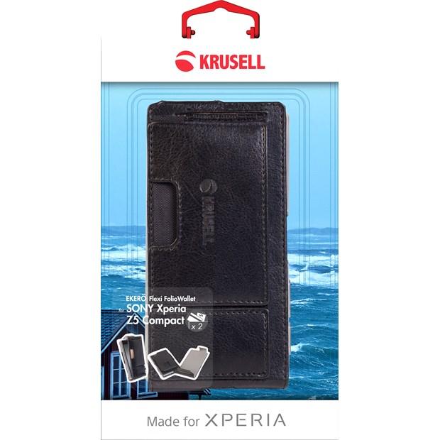 (贈專用保貼+支架)Krusell 皮革下掀皮套/SONY Xperia Z5 Compact/手機皮套【馬尼通訊】