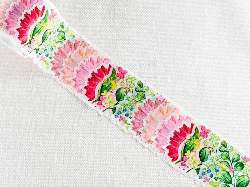 *小徑文化* 日本進口 NICO Bande 和紙貼紙 花朵 系列 - 非洲菊_粉紅色 ( BDA 127 )