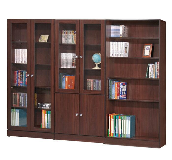 【尚品傢俱】GF-G03 溫莎胡桃3尺雙門書櫃玻璃櫃~有開放式、二門、四門款