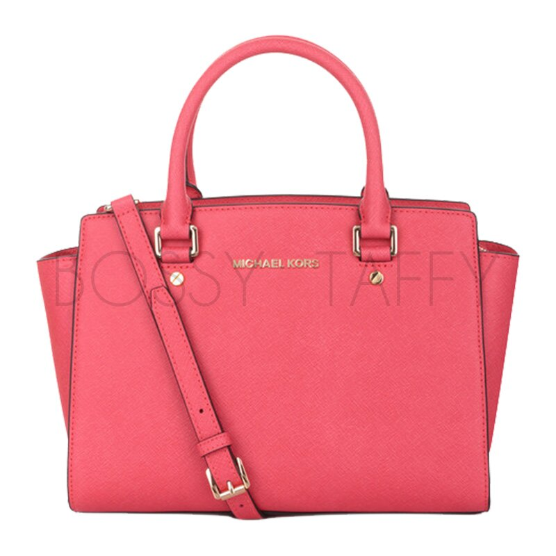 MICHAEL KORS 30S3GLMS2L 珊瑚紅皮革中號手提斜背梯型托特包 Selma Saffiano Leather Medium Satchel coral