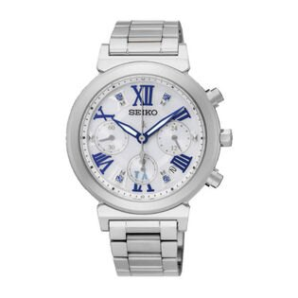Seiko精工錶Lukia系列V175-0DR0W(SSC839J1)藍色羅馬字三眼太陽能女錶36mm